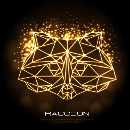 Abstract polygonal tirangle animal raccoon neon sign. Hipster animal illustration.