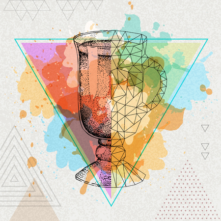 Hipster realistic and polygonal cocktail irish coffee on water watercolor background