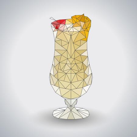 Abstract polygonal tirangle cocktail pina colada. Hipster cocktail menu