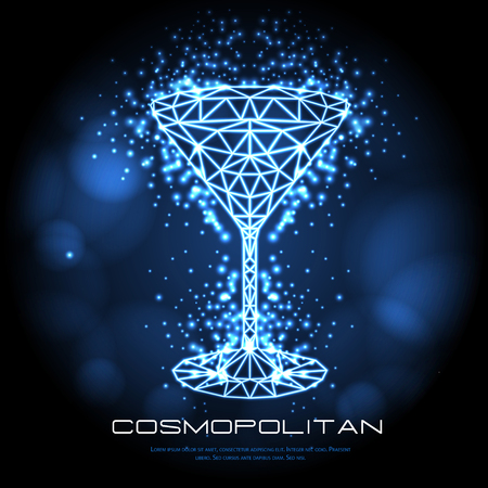 Hipster polygonal cocktail cosmopolitan neon sign. Triangle cocktail