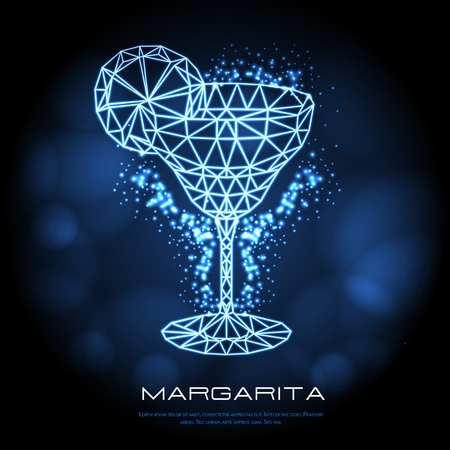 Hipster polygonal cocktail margarita neon sign. Triangle cocktail