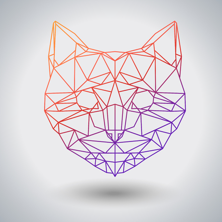 Hipster polygonal animal cat. Triangle animal 矢量图像
