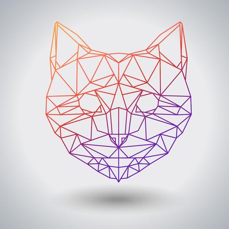 Hipster polygonal animal cat. Triangle animal Illustration