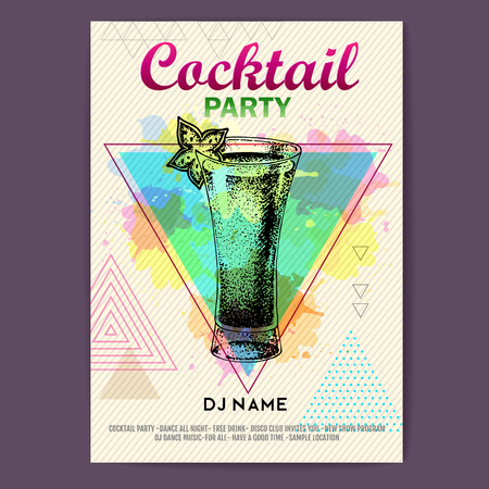 Cocktail absinthe on an artistic polygon  background. Cocktail disco party poster