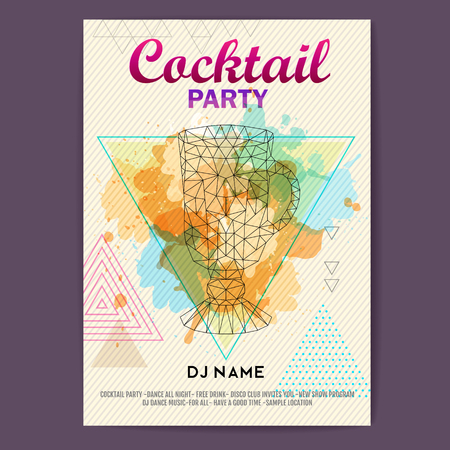 Triangle Cocktail irish coffee on polygon  background. Cocktail disco party poster