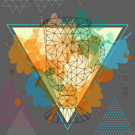 Hipster polygonal cocktail irish coffee on water watercolor background Vectores