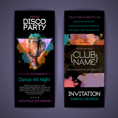 Disco cocktail party corporate identity templates. Disco background