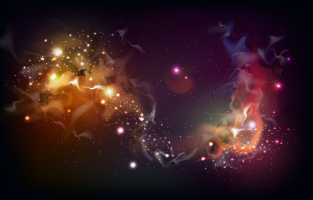 Abstract open space background. Starfield, universe, nebula in galaxy. Vector illustration 向量圖像