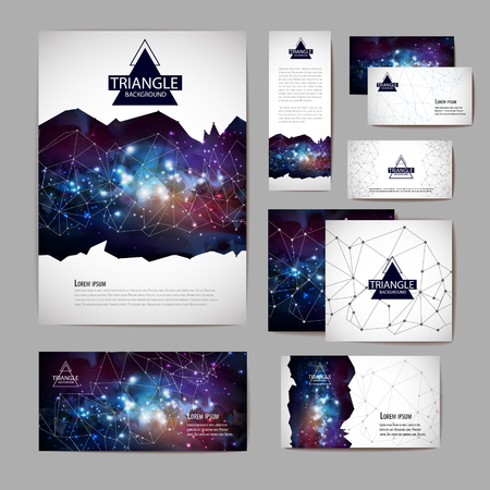 Document template with polygonal geometric space abstract background  イラスト・ベクター素材