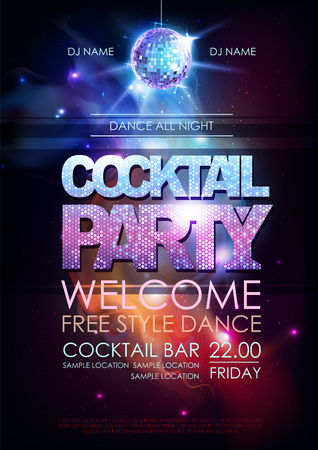 Disco ball background. Disco cocktail party poster on open space background Stock Illustratie