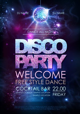 Disco ball background. Disco party poster on open space background Illustration
