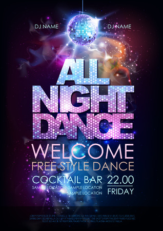 Disco ball background. Disco all night dance party poster on open space background Vectores