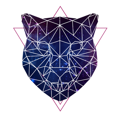 Abstract polygonal tirangle animal cheetah with open space background. Hipster animal illustration.