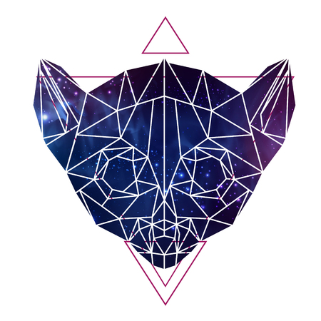 Abstract polygonal tirangle animal lemur with open space background. Hipster animal illustration.