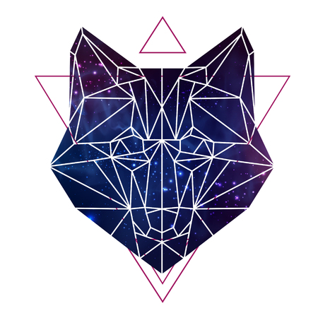 Abstract polygonal tirangle animal fox with open space background. Hipster animal illustration.