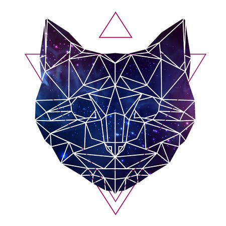 Abstract polygonal tirangle animal cat with open space background. Hipster animal illustration.
