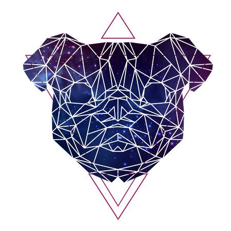 Abstract polygonal tirangle animal pug-dog on open space background. Hipster animal illustration.