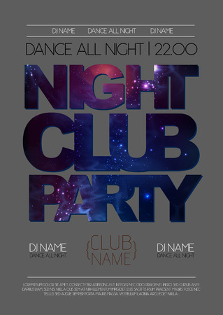 Disco night club poster on open space background Vectores