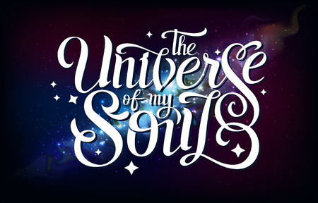 Lettering. Typography on abstract open space background. Starfield, universe, nebula in galaxy. Vector illustration 向量圖像