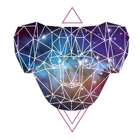 Abstract polygonal tirangle animal koala on open space background. Hipster animal illustration. Illusztráció