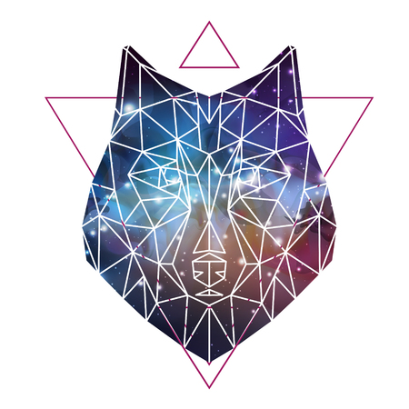 Abstract polygonal tirangle animal wolf on open space background. Hipster animal illustration.