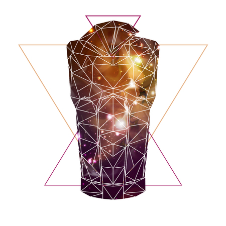 Abstract polygonal tirangle cocktail with open space background inside.