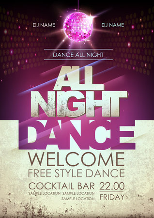 Disco ball background. Disco all night dance party poster on open space background Stock Illustratie