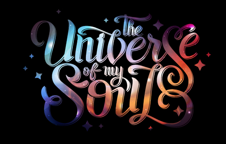 Lettering. Typography on abstract open space background. Starfield, universe, nebula in galaxy. Vector illustration