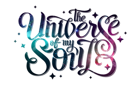 Lettering. Typography on abstract open space background. Starfield, universe, nebula in galaxy. Vector illustration 矢量图像