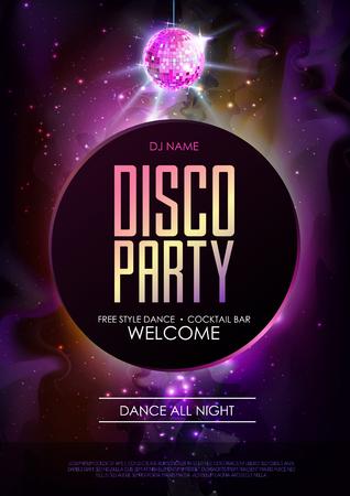 Disco bal achtergrond. Disco party poster op open ruimte achtergrond. Nachtclub