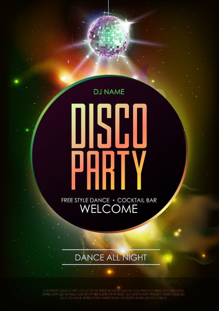 Disco ball background. Disco party poster on open space background. Night club