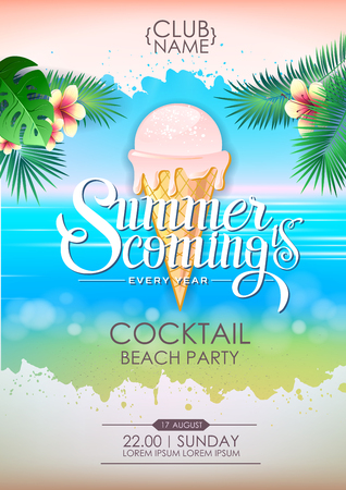 Summer disco cocktail beach party poster. Lettering poster summer is coming