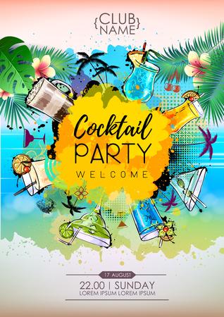 Summer Cocktail party poster design. Cocktail menu Vector Illustratie