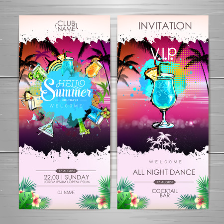 Summer Cocktail party poster design. Cocktail menu. Invitation design