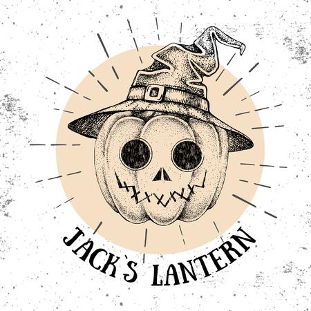 Halloween hand drawn pumpkin Jack`s Lantern vector illustration. Hipster style
