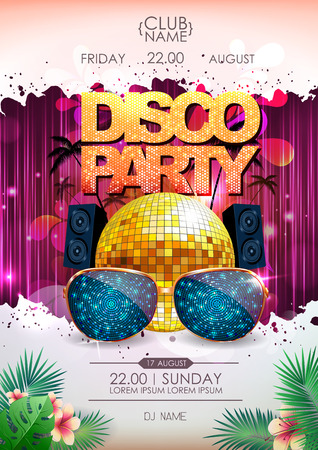 Disco background. Disco ball summer party poster