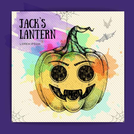 Halloween hand drawing pumpkin Jack Lantern vector illustration. Halloween greeting card