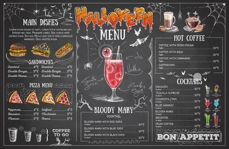 Diseño de menú de halloween de dibujo de tiza vintage. Menú del restaurante
