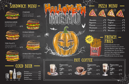 Vintage chalk drawing halloween menu design. Restaurant menu