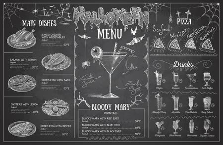 Vintage krijt tekening halloween menu ontwerp. Restaurant menu