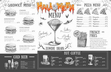 Vintage halloween menu design. Restaurant menu