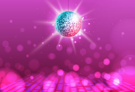 Disco ball. Disco ball pink background Vettoriali