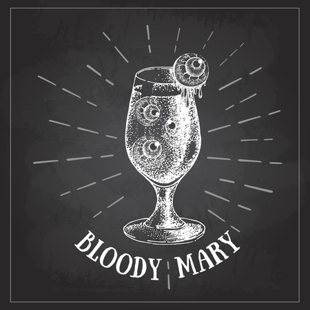 Chalk drawing Halloween hand drawn cocktail bloody mary vector illustration. Hipster style 矢量图像