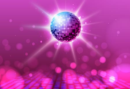 Disco ball. Disco ball pink background Illustration