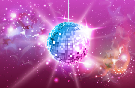 Disco ball. Disco ball pink background 矢量图像