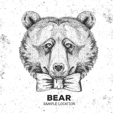 Hipster animal bear. Hand drawing Muzzle of animal bear Illusztráció