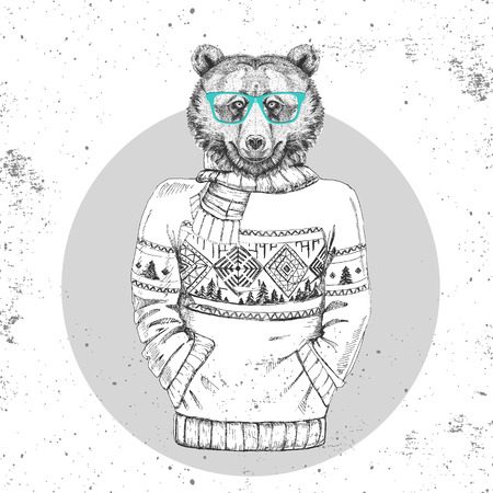 Retro Hipster fashion animal bear dressed up in pullover. Hipster animals
