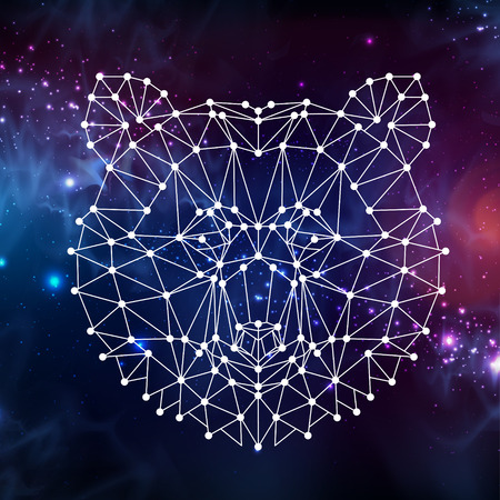 Abstract polygonal tirangle animal bear with open space background