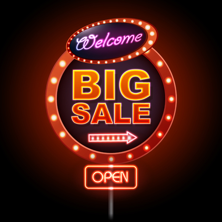 Neon sign big sale open. Vintage electric signboard. Road sign