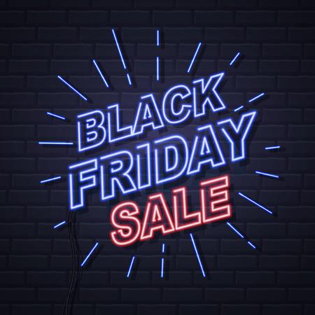Neon sign Vintage electric signboard. Black friday big sale Illustration